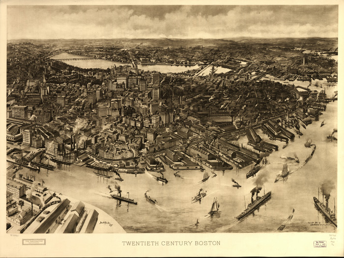 1905 bird's-eye view of Boston