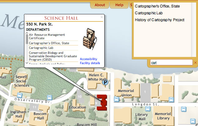 UW campus map, searching and browsing