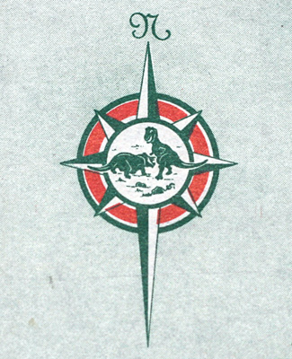Dinosaurs fighting in a compass rose