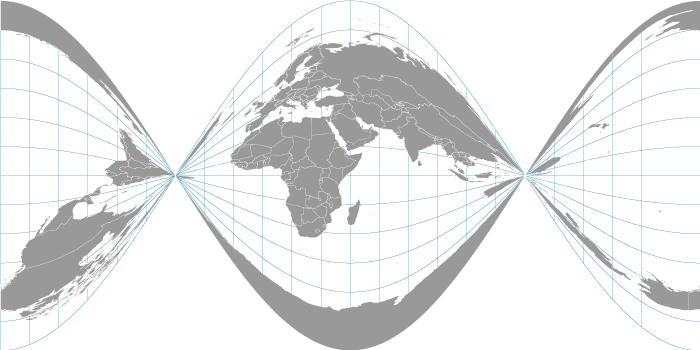 Twisted plate carrée map projection