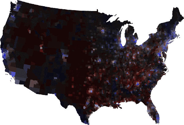 Margin of victory election map with county population densities
