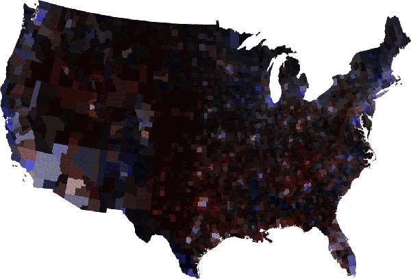 Margin of victory election map with county populations
