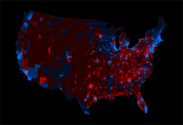 Election map, population density