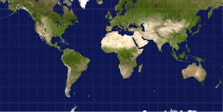 Mercator projection with interpolation based on the inverse projection