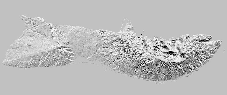 Molokai shaded relief grayscale