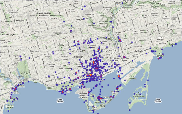 Density of Flickr photos tagged 'skyline' in Toronto