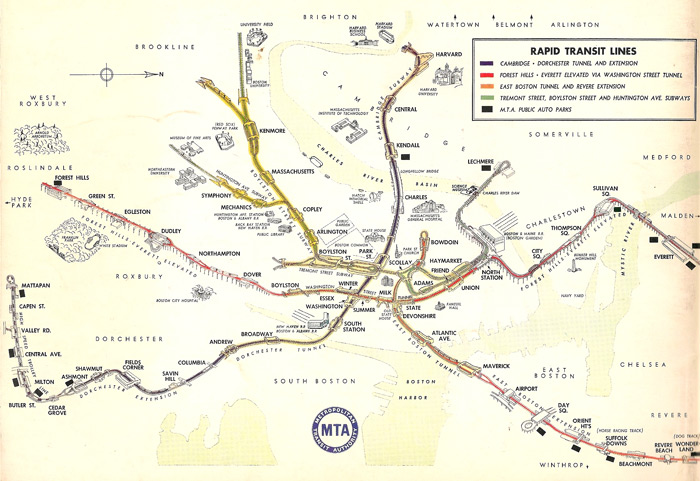 Bird's-eye view of Boston's rapid transit