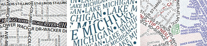 Details of Chicago and Boston typographic maps