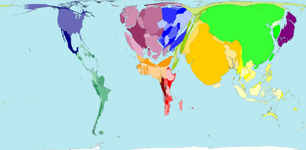 World population cartogram