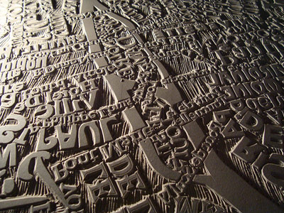 Linocut map of Paris by Mark Andrew Webber