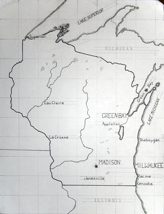 Hand-drawn Wisconsin map