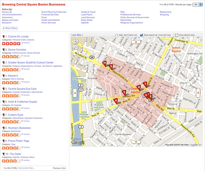 Yelp browsing via map